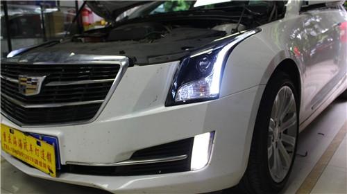 重庆凯迪拉克车灯升级LED双光透镜日行灯改装